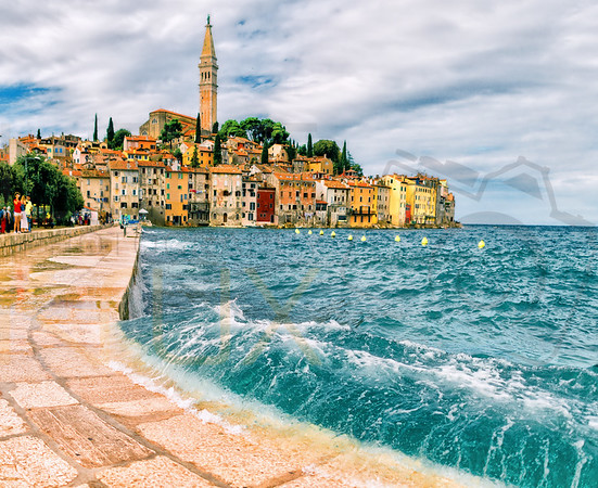 A splashing wave in Rovinj, Croatia
