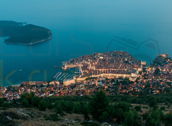 View on Dubrovnik by night