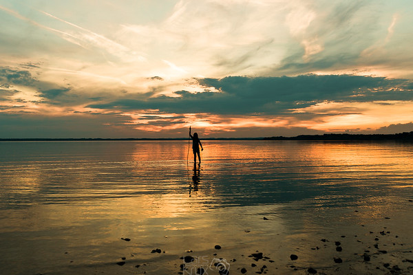 A girls silhouette | Sunset | Lake Chiemsee | Bavaria | Germany