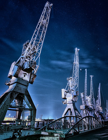 A starry sky in the Port of Hamburg | Germany | Europe