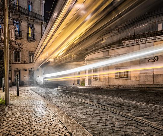 Golden Traffic Lights of an Ancient Tram No 28   Lisobn   Portugal   Europe