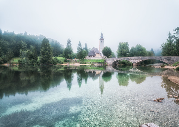 Foggy morning at the Bridge | Bled | Slovenia | Europe