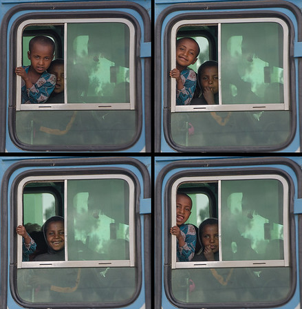 Faces in the bus window, Gondar