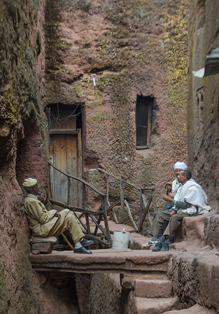 Afternoon chat outside Bet Medhane Alem monastery, Lalibela