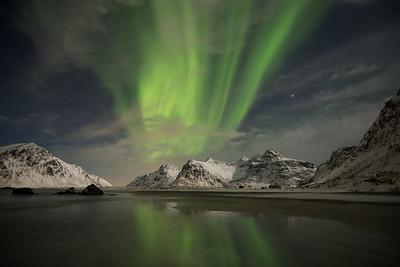 Norway, Lofoten: Northern lights at Skagsanden Beach.