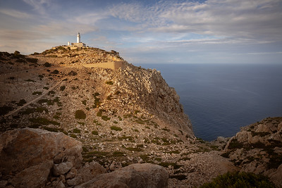Mallorca, Islas Baleares, Spain:  Golden hour at Cap de Formentor lighthouse on the northernmost tip of Mallorca.