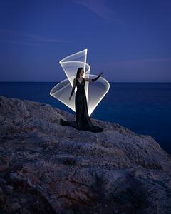 Menorca, Islas Baleares, Spain:  Light painting at Punta Talis