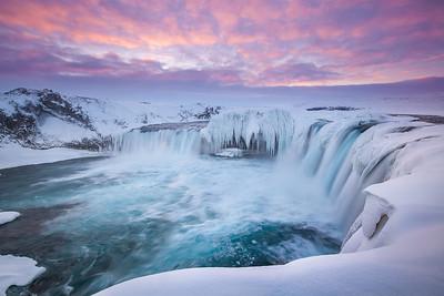 Iceland: Sunrise at Goðafoss.