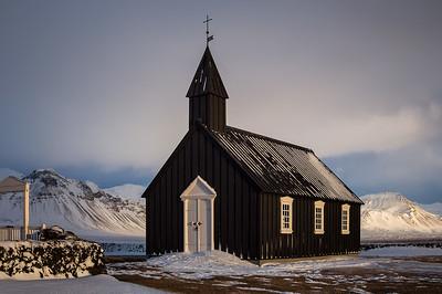 Iceland, Snæfellsnes: Búðakirkja Chruch (Black Church) on the Snæfellsnes peninsula.