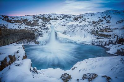Iceland: Winter morning at Aldeyjarfoss.