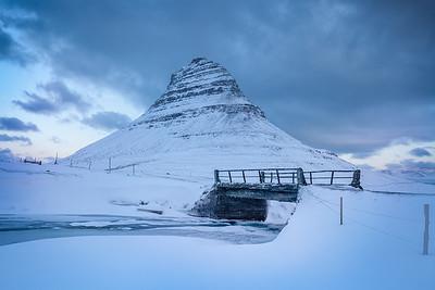 Iceland: Bridge at Kirkjufell.