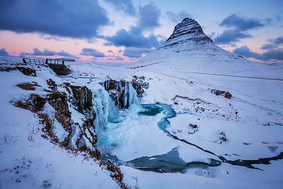 Iceland: Frozen waterfall at Kirkjufell.