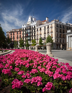 Spain, Madrid: The Plaza de Oriente next to the The Royal Palace of Madrid