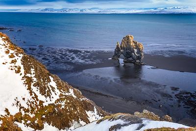 Iceland: Hvítserkur, also known as Dinosaur Rock, in northern Iceland: