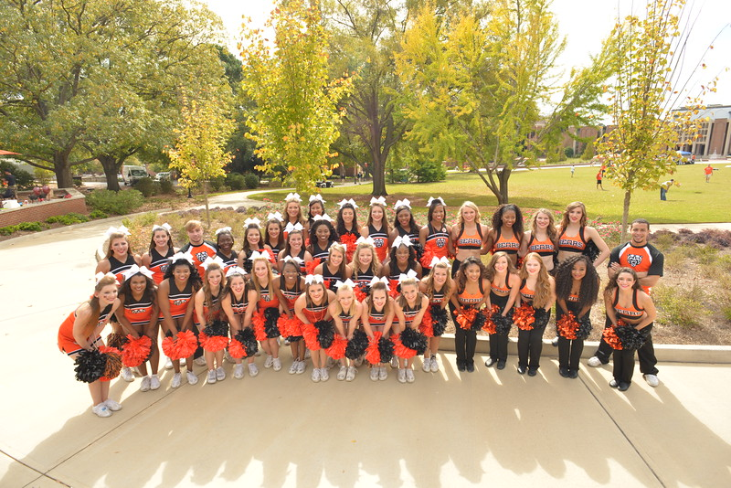 Cheerleaders and dance team