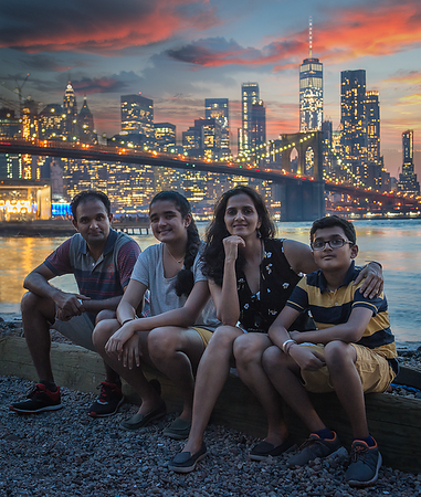 Our family at The Pier over-looking Brooklyn Bridge