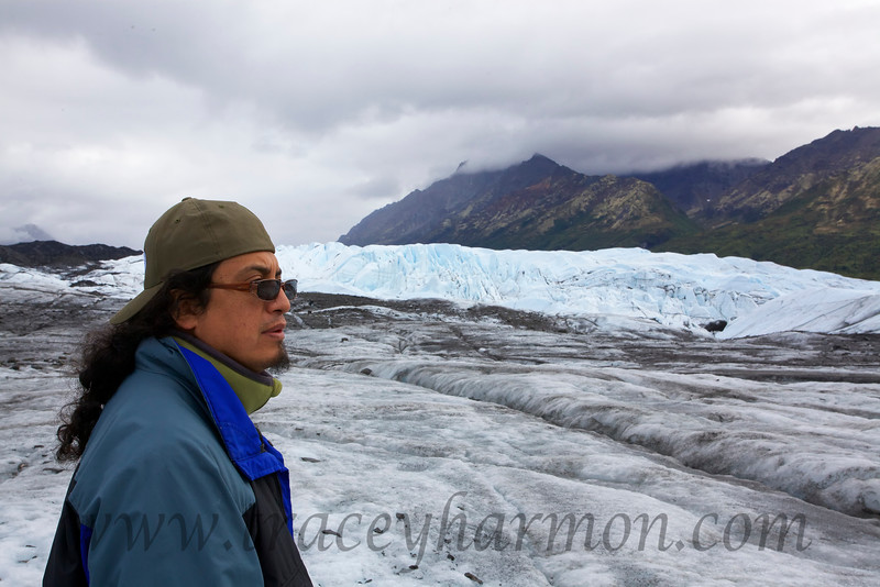 One can tell by the expression on his face that Alejandro is wondering how he got talked into walking across the Matanuska Glacier!