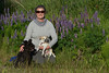 Kim,  and her boys (Major the Schnauzer and Peanut the Chihuahua), take a photo break while walking in Anchorage's Kinkaid Park.