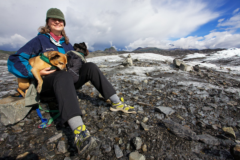 Kim taking a break from hiking the Matanuska Glacier to hold her babies, Curtis and Major.