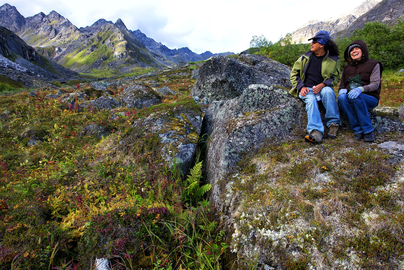 Alejandro and Kassidy, with their berry containers, in Archangel Valley, Alaska.