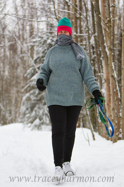 """Kim, on one of her """"nothing like a brisk January walk in Alaska to get the blood going"""" walks!"""