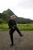 Kim, high-stepping on the shore of China Poot Lake in Alaska's Kachemak Bay State Park, adds animation to her story (you had to be there)!