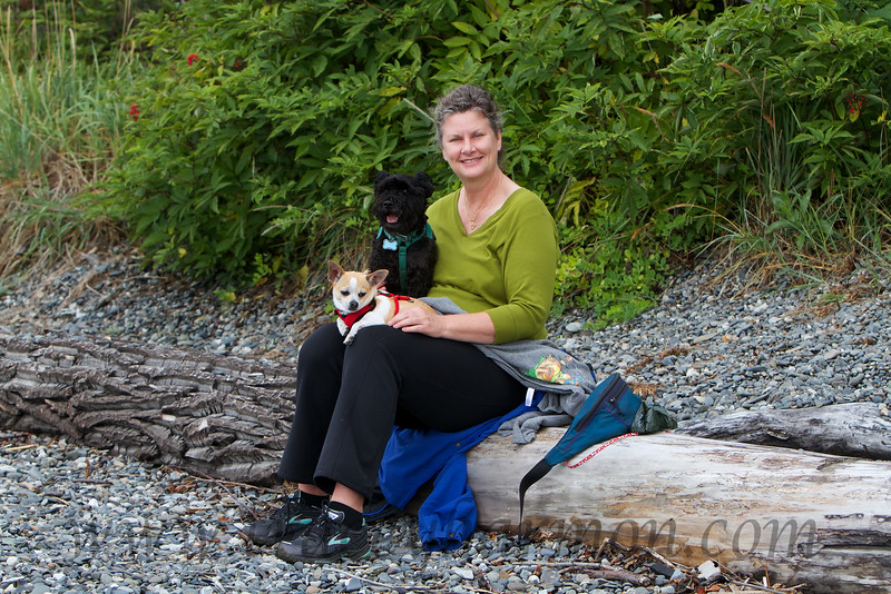 "Kim,  and her boys (Major the Schnauzer and Peanut the Chihuahua), take a break from ""beaching"" in Anchorage's Kinkaid Park."