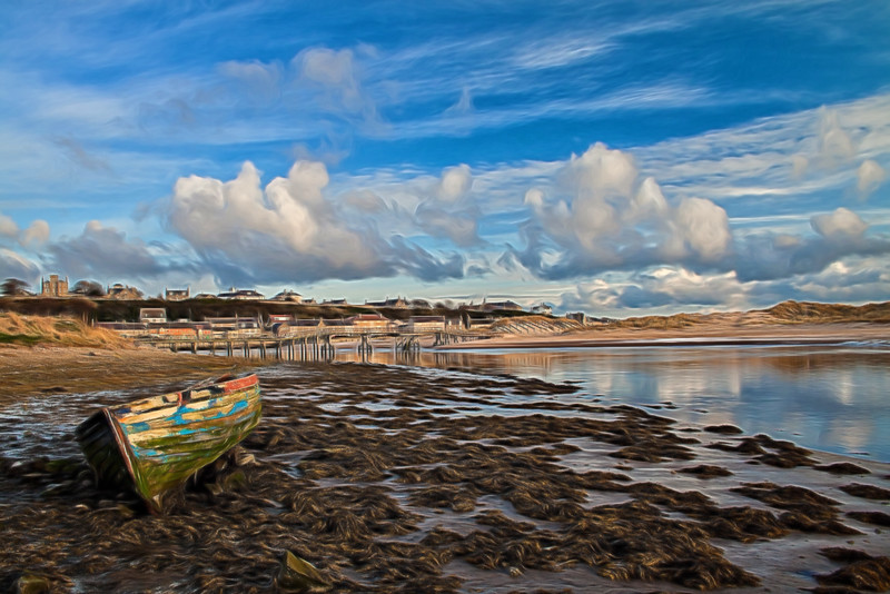 Lossiemouth River Moray Scotland Skiff glow painting