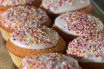 Iced Fairy Cakes viewed from the side
