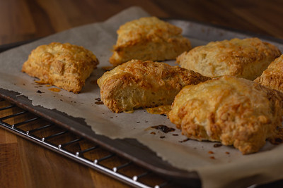 Cheese scones viewed from the side