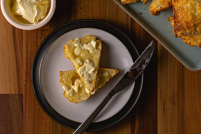 Cheese scone top down with butter