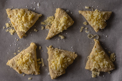 Raw cheese scones viewed top down