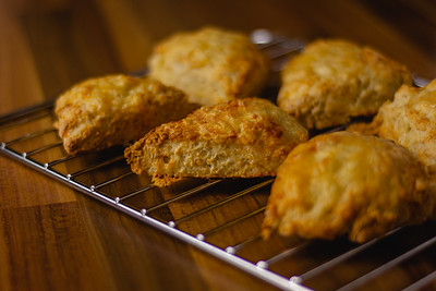 Cheese scones on a cooling rack