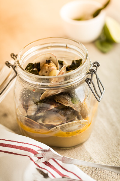 Jar of spicy steamed clams