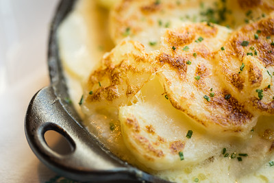 Gratin with scalloped potatoes at Commonwealth Restaurant, Cambridge, MA