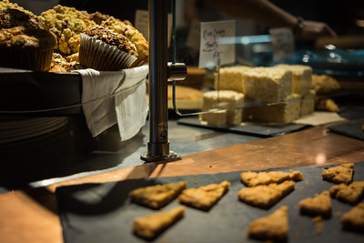 Fresh home made muffins and other bakery products from the market at Commonwealth restaurant, Cambridge, MA
