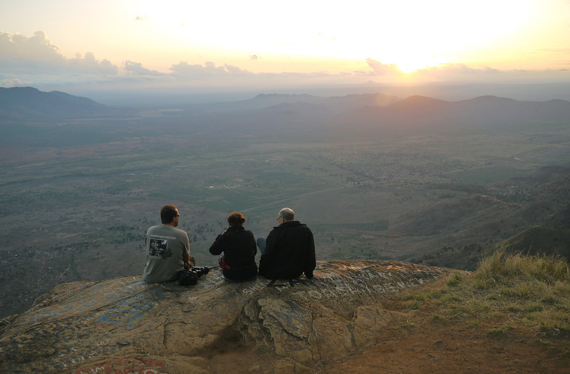 Traveling companions enjoying the sunset over Lushoto, TZ.