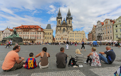 A summer afternoon break on the edge of the Old Town Square, Prague.