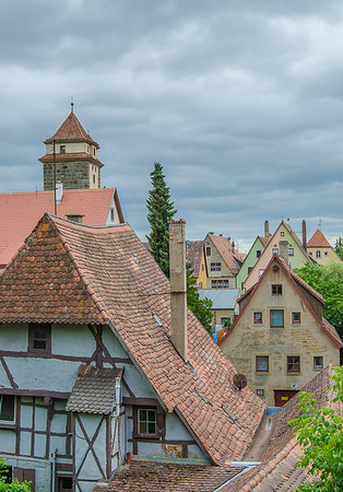 The half-timbered houses in Rothenburg's old town create a unique medieval atmosphere.
