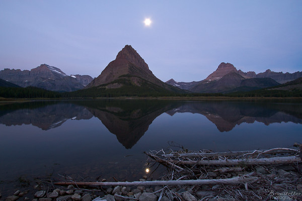 Moonset over Swiftcurrent Lake