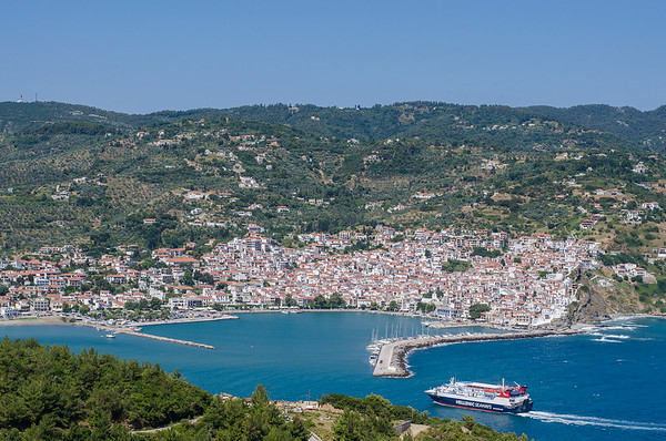 The town of Skopelos and the main port, Skopelos
