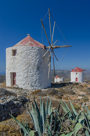 the old windmills of Lagada on the hill above the capital of Amorgos