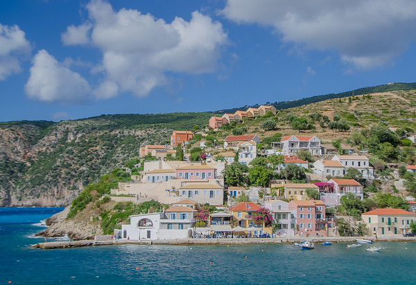 Assos is a small village north of Argostoli, Kefalonia