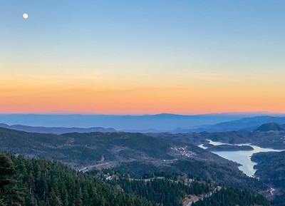 Lake Plastiras with its idyllic landscape at sunset