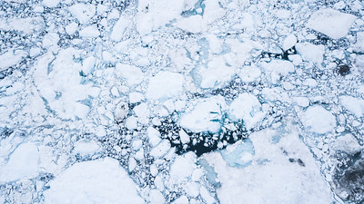 Aerial view of glacier broken into icebergs.