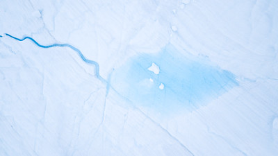 Aerial view from a drone above a glacier.