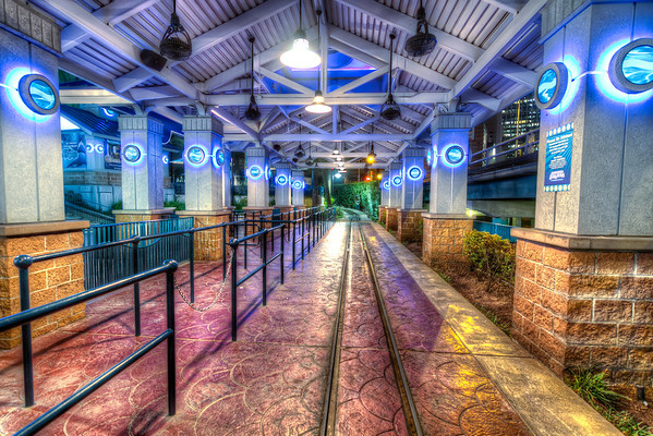 """The Empty Depot<br /> Though this little depot may not be Grand Central Station, many happy people """"young at heart"""" catch a train here daily to travel around the Aquarium amusement area in Houston."""