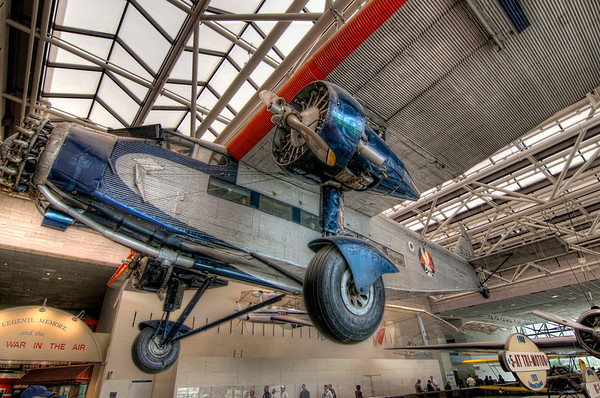 """The Tin Goose<br /> The Ford Trimotor (nicknamed """"The Tin Goose"""") was an all-metal, American three-engined transport plane that was first produced in 1925 by the companies of Henry Ford . Newer designs and Ford's losing interest in aviation caused production to end in 1933, with 199 airplanes built and flown world-wide by commercial and military aviation. I'm almost certain that Indiana Jones flew on one too.<br /> This Trimotor hangs in the Smithsonian's Air and Space Museum in Washington D.C."""