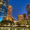 Houston at Night<br /> This photo was taken on the lawn in front of the Houston City Hall, looking south at dusk.