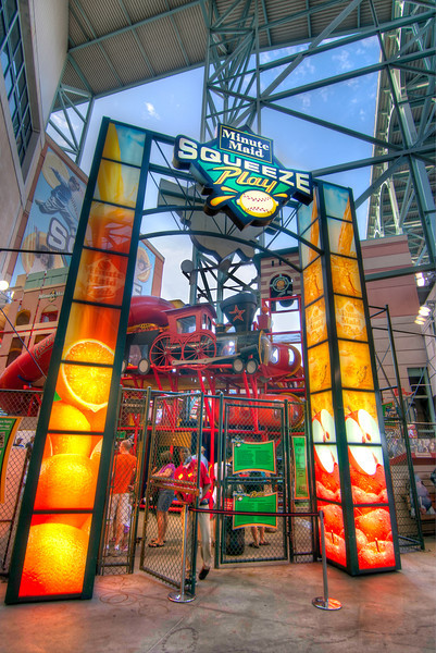 """Squeeze Play<br /> Just outside the right field gate in Minute Maid Park is """"Squeeze Play"""", a place for kids to play and experience the thrills of major league baseball."""